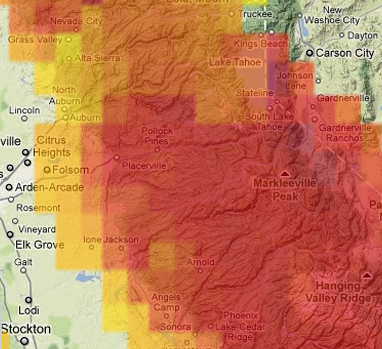 screen shot for the Wildfire: Fire Risk Map tool