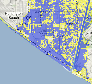 screen shot for the Sea Level Rise: Threatened Areas Map tool